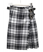 ONEIL OF DUBLIN(オニール オブ ダブリン)の古着「チェック柄ラップスカート」|ブラック×グレー