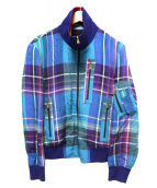 Paul Smith(ポールスミス)の古着「リネン混チェックブルゾン」|ブルー