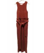JANE SMITH(ジェーンスミス)の古着「ウエストリボンロングワンピース」|ボルドー