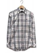 BURBERRY BLACK LABEL(バーバリーブラックレーベル)の古着「チェックシャツ」|ホワイト×ネイビー