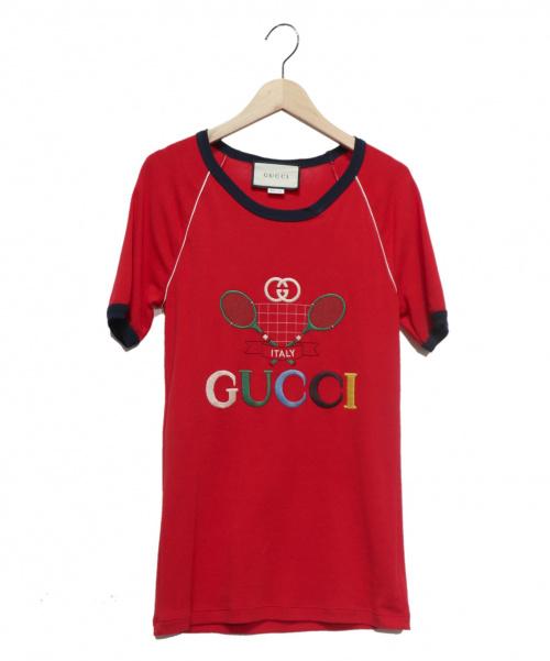 GUCCI(グッチ)GUCCI (グッチ) テニス刺繍Tシャツ レッド サイズ:Mの古着・服飾アイテム