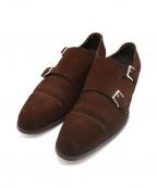 ENZO BONAFE(エンツォボナフェ)の古着「DE CHIRICO Ⅱスウェードダブルモンクシューズ」|ブラウン