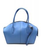 GIANNI CHIARINI(ジャンニ・キャリーニ)の古着「2WAYレザーハンドバッグ」|ブルー