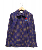 Vivienne Westwood RED LABEL(ヴィヴィアンウエストウッド レッドレーベル)の古着「オーブ刺繍ドットシャツ」|ネイビー×ブラウン
