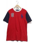 POLO RALPH LAUREN(ポロラルフローレン)の古着「ビッグポニーTシャツ」|レッド×ネイビー