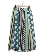 IENA(イエナ)の古着「ジオメトリックストライプボリュームスカート」|ネイビー×グリーン