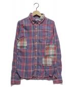 REMI RELIEF(レミレリーフ)の古着「パッチワークチェックシャツ」|レッド×パープル
