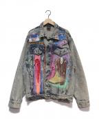 Used/Vintage(ユーズド ヴィンテージ)の古着「リメイクペイントデニムジャケット」|ブルー