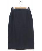 CHANEL(シャネル)の古着「ココボタン鹿の子スカート」|ネイビー