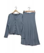 JUSGLITTY(ジャスグリッティー)の古着「リブカーデ&スカートSET UP」|ブルー