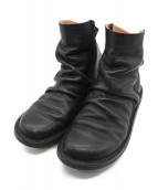 Trippen(トリッペン)の古着「CLOSED PLEATS-BUFレザーブーツ」|ブラック