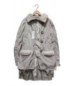 MONCLER(モンクレール)の古着「SORAシルクナイロンモッズコート」|ベージュ