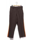 Needles Sportswear(ニードルズスポーツウェア)の古着「サイドラインワークパンツ」|ブラウン×オレンジ