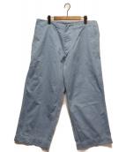 KAPTAIN SUNSHINE(キャプテン サンシャイン)の古着「ワイドシルエットコットンバギーワークパンツ」|ライトブルー