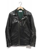 Sandinista × PHIGVEL(サンディニスタ×フィグベル)の古着「ホースハイドダブルライダースジャケット」 ブラック