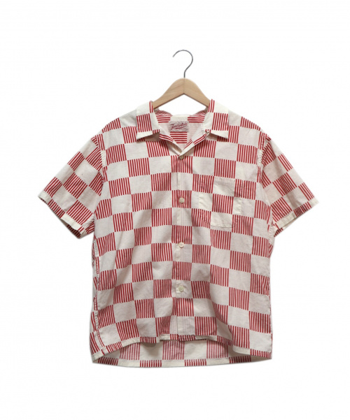 TENDERLOIN(テンダーロイン)TENDERLOIN (テンダーロイン) T-CHECKER SHT C S/S レッド×ホワイト サイズ:XSの古着・服飾アイテム