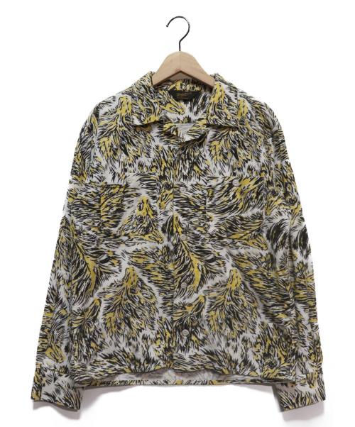 TENDERLOIN(テンダーロイン)TENDERLOIN (テンダーロイン) T-PRINT FLANNEL SHT WOLF ホワイト×イエロー サイズ:XSの古着・服飾アイテム