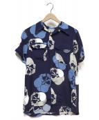BUTCHER PRODUCTS(ブッチャープロダクツ)の古着「S/S HAWAIIAN SHIRT DOKURO」 ブルー×ネイビー