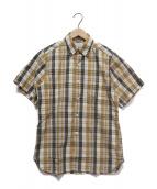 BUTCHER PRODUCTS(ブッチャープロダクツ)の古着「S/Sマドラスチェックシャツ」 ブラウン×アイボリー