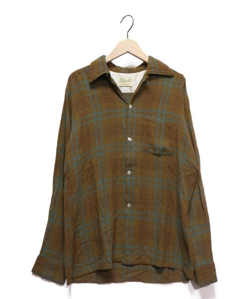ARROW CHEVELLA(アロー シェベラ)ARROW CHEVELLA (アロー シェベラ) レーヨンチェックシャツ ブラウン サイズ:Mの古着・服飾アイテム