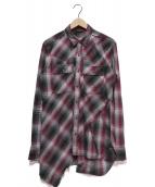 Maison MIHARA YASUHIRO(メゾンミハラヤスヒロ)の古着「Layered Plaid Shirt」|グレー×レッド
