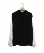LIMI feu(リミフゥ)の古着「袖切替ブラウス」|ブラック×ホワイト