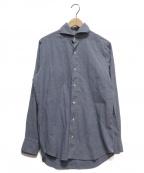 finamore(フィナモレ)の古着「ペイズリーワイドカラーシャツ」 ネイビー