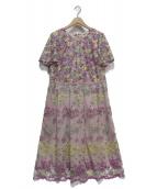 Rose Tiara(ローズティアラ)の古着「チュール刺繍フィット&フレアワンピース」|ピンク×パープル
