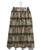 peu pres(プープレ)の古着「総柄スカート」|ベージュ×グリーン