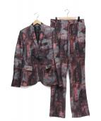 yoshio kubo(ヨシオクボ)の古着「ジャガードセットアップ」|ピンク×グレー