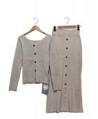 Rirandture(リランドチュール)の古着「フロント釦リブニットアップ」|ベージュ