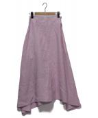MADISON BLUE(マディソンブルー)の古着「リネンミモレフレアスカート」|ピンク