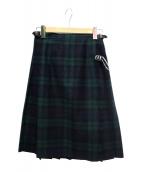 ONEIL OF DUBLIN(オニール オブ ダブリン)の古着「ウールキルトスカート」|グリーン×ネイビー
