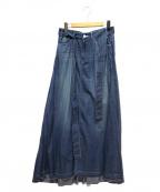 woadblue(ウォードブルー)の古着「デニムロングフレアスカート」|インディゴ