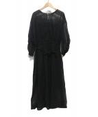 UNIVERSAL TISSU(ユニバーサルティシュ)の古着「コットンオーガンジーピンタックギャザードレス」|ブラック