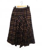 慈雨(ジウ)の古着「チェックフレアスカート」|ブラウン