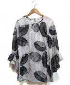 NARA CAMICIE(ナラカミーチェ)の古着「総刺繍ブラウス」 ホワイト×ブラック