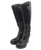 ANN DEMEULEMEESTER(アンドゥムルメステール)の古着「レザーロングブーツ」|ブラック