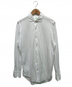 finamore(フィナモレ)の古着「鹿の子ホリゾンタルカラーシャツ」 ホワイト