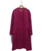 ROPE mademoiselle(ロペマドモアゼル)の古着「モヘヤシャギーノーカラーコート」|パープル
