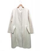 ROPE mademoiselle(ロペマドモアゼル)の古着「モヘヤシャギーノーカラーコート」|アイボリー
