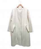 ROPE mademoiselle(ロペマドモアゼル)の古着「モヘヤシャギーノーカラーコート」 アイボリー