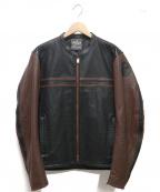 KADOYA(カドヤ)の古着「パンチングレザーライダースジャケット」 ブラック×ブラウン