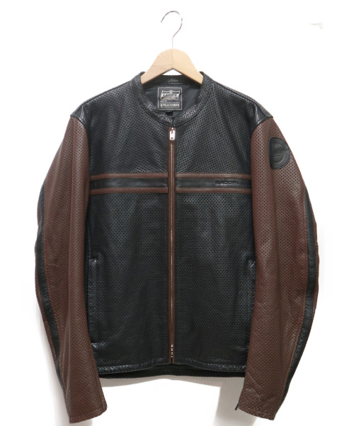 KADOYA(カドヤ)KADOYA (カドヤ) パンチングレザーライダースジャケット ブラック×ブラウン サイズ:L PL-SUNTAILOの古着・服飾アイテム