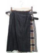 ONEIL OF DUBLIN(オニール オブ ダブリン)の古着「マルチチェックキルトスカート」|グリーン×グレー