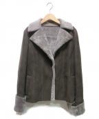 DAMA collection(ダーマコレクション)の古着「ムートンライダースジャケット」 ブラウン×グレー