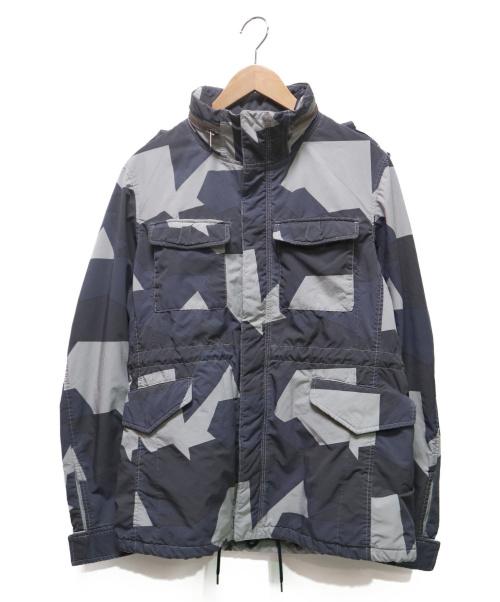 N.MASAKI COLORS(エヌマサキ カラー)N.MASAKI COLORS (エヌマサキ カラー) 総柄M65ジャケット ネイビー×グレー サイズ:48の古着・服飾アイテム