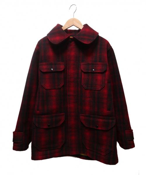 WOOLRICH(ウールリッチ)WOOLRICH (ウールリッチ) チェックマッキーノジャケット レッド×ブラック サイズ:40 70'S~の古着・服飾アイテム