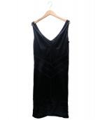 Christian Dior(クリスチャンディオール)の古着「サテンノースリーブワンピース」 ネイビー