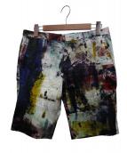 PS Paul Smith(ピーエスポールスミス)の古着「BACKING CLOTH PRINT SHORT PANT」 アイボリー×マルチカラー